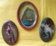 3 Lot Antique Advertising Pocket Mirrors Nouveau Ladies And Prudential Tin Tray