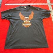 Vintage 1970's Or Early 1980's Harley Davidson Tee Shirt Size L Large Carbone Ny