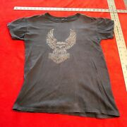 Vintage 1970and039s Early 1980and039s Harley Davidson Tee Shirt Size L Large Columbus Ohio