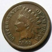 1869 Indian Head Penny Key Date Beautiful Original Coin Nice