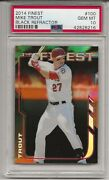 2014 Topps Finest 100 Mike Trout, Black Refractor, 73/99 Psa 10 Perfect