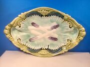 Antique French Majolica Serving Platter Asparagus Decor C.1800and039s