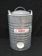 Vintage Igloo Galvanized 5 Gallon Metal Water Cooler Dispenser With Spigot