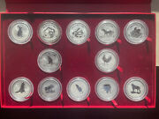 Perth Mint Lunar Series 1 Complete 2 Oz .999 Silver Coin Set W/box 1999 - 2010