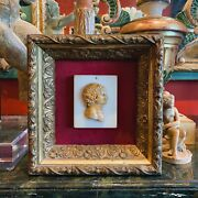 Early 19th Century Grand Tour Framed Carved Marble Double Profile Cameo