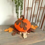 Handmade Quilted Pumpkin And Leaves Table Decor Fall Autumn Thanksgiving Decor