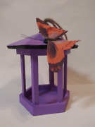 Purple Wooden Gazebo Handmade Bird House Hanging Bird Feeder Bird Feeder