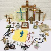 Lot Of 35‼ Christian Crosses Crucifix Necklaces Etc Religious Junk Drawer Andbullvguc‼