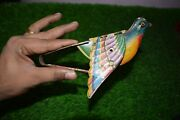 Old Unique Vintage Antique Flying Bird Litho Tin Squeeze Toy For Kids