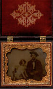 Dog Man's Best Friend 1/6th Plate Tinted Ambrotype In Gutta Percha Case C1855