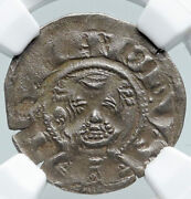 1180ad France Feudal Priory Of Souvigny Medieval Silver Denier Ngc Coin I91313