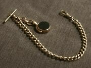 Victorian 9ct Rose Gold Albert Pocket Watch Chain With Bloodstone Fob 33.1 Grams