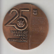 1963 Uja -25 Years Of Rescue And Rebuilding Award Medal 59mm Bronze