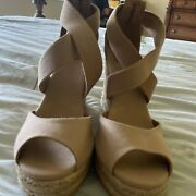 Beige Leather Fabric Sandals Platforms Wedge Heels Size 10