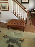Henredon Rectangular Tufted Leather Ottoman W/nailhead Trim And Brass Casters
