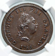 1786 Isle Of Man Antique King George Iii Triskeles 1/2 Penny Coin Ngc I91322