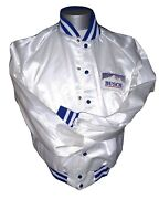 Vintage 90s Anheuser Busch Beer Double Sided White Satin Jacket Men/adult Xl