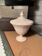Vintage Pink Milk Slag Glass Standing Covered Candy Dish Compote