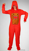 New Domo Red Adult Costume 1 Pc Pjs Pajamas Hood Hoody Hat Removable Feet Xxl 2x