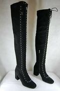 Le Silla Lace Up Victorian Black Suede Stretch Over The Knee Boots Eu 39 Us 8.5