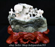 11.8 Chinese Natural Dushan Jade Carved Fengshui Mountain Lion Dance Statue