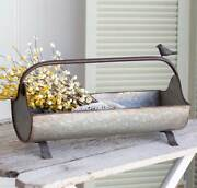 New French Country Farmhouse Chic Garden Tool Box Metal Basket Caddy With Bird