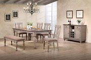Kings Brand Almon 2-tone Brown Wood 7-piece Dining Room Set Table Bench 4 Cha