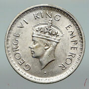1943l India States Uk King George Vi Antique Silver 1/2 Rupee Indian Coin I91217