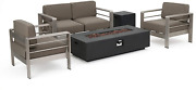 Christopher Knight Home Cape Coral Outdoor Chat Set With Fire Table 5-pcs Set