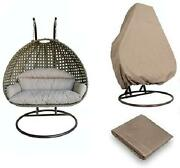 Island Gale Luxury 2 Person Outdoor Patio Hanging Wicker Swing Chair 2 Perso