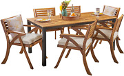 Christopher Knight Home Nora Outdoor 7 Piece Acacia Wood Dining Set Teak And Cr
