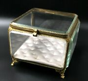 Very Large French Antique Nap Iii Brass Frame And Bevelled Glass Display Box/case