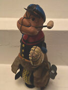 Popeye The Unicyclist Mechanical Tin Windup Toy By Linemar Japan