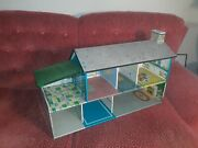 Vintage Marx 2 Story Tin Litho Dollhouse And Furniture 1950s-60s Mid Century