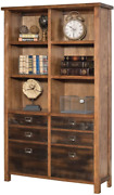 Martin Furniture Heritage Ten Shelf Bookcase With Doors - 72 H Rough Sawn Hicko