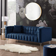 Inspired Home Blue Velvet Sofa - Biscuit Tufted Sofa Vintage Couch With Lucite L