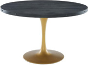 Modway Drive 48 Modern Farmhouse Dining Table With Round Pine Black Wood Top An