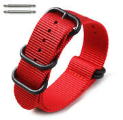 5 Ring Ballistic Army Military Red Nylon Fabric Replacement Watch Band 3028