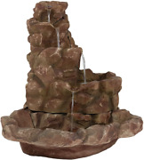 Sunnydaze Stone Springs Rock Waterfall Fountain With Led Lights - Large Yard Wat