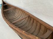 Antique 1920s Native Made Nys Birch Bark Canoe Model Scale 40 Inches Spectacular