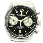 Bell And Ross Vintage Chronograph Automatic Menand039s Black Dial Ss From Japan [e0512]