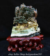 15.6 Chinese Natural Dushan Jade Carved Mountain Tree Bridge Statue Sculpture