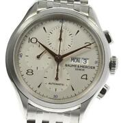 Baume And Mercier Clifton Day-date M0a10130 Automatic Menand039s Silver Dial [e0512]
