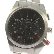 Dior Sifle Rouge Date Chronograph Cd084612 Automatic Menand039s Black Dial Ss [e0512]