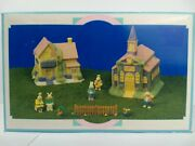 Hopalong Hollow 10 Piece Hand Painted Porcelain Easter Village In Box Complete