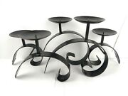 Wrought Iron Candelabra 5 Candle Metal Holder Fireplace Tabletop Centerpiece
