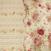 New Cozy Cottage Chic Shabby Pink Red Blue Green Yellow Rose Leaf Quilt Set