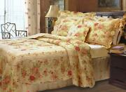 New Cozy Chic Country Shabby Pink Red Blue Green Yellow Rose Leaf Quilt Set