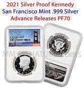 2021 S Kennedy 999 Silver Proof Half Doller Advance Releases Ngc Pf70