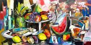 """Original Painting Expressionist Still Life"""" Oil On Canvas 24x48 In By Ana Kim"""